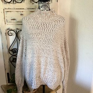 Cynthia rowley tan and white chunky knit sweater